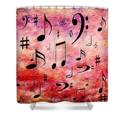 Shower Curtain featuring the digital art A Musical Storm 4 by Andee Design