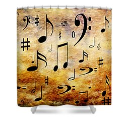 Shower Curtain featuring the digital art A Musical Storm by Andee Design