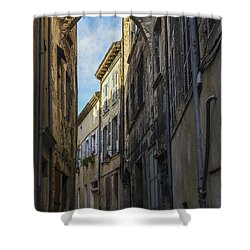 Shower Curtain featuring the photograph A Narrow Street In Viviers by Allen Sheffield