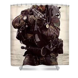 A Navy Seal Exits The Water Armed Shower Curtain by Michael Wood