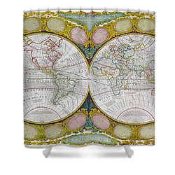 A New And Correct Map Of The World Shower Curtain by Robert Wilkinson