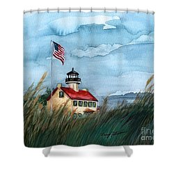 A New Day At East Point Lighthouse Shower Curtain