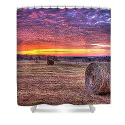 Shower Curtain featuring the photograph Before A New Day Georgia Hayfield Sunrise Art by Reid Callaway