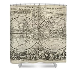 A New Map Of The Whole World With Trade Winds Herman Moll 1732 Shower Curtain