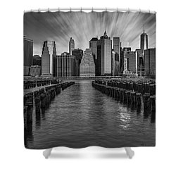A New York City Day Begins Bw Shower Curtain