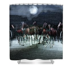 A Night Of Wild Horses Shower Curtain