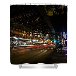 a nighttime look at Chicago's busy State and Lake Intersection Shower Curtain