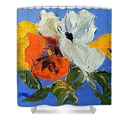 A Nudge Of Pansies Shower Curtain by Ron Wilson