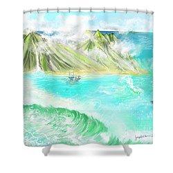 A Ocean Some Where Shower Curtain