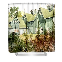 An Old Wooden Barn Painted Green With Silo In The Sun Shower Curtain by Greta Corens