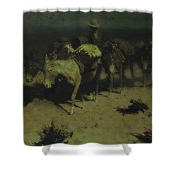 A Pack Train Shower Curtain by Frederic Remington