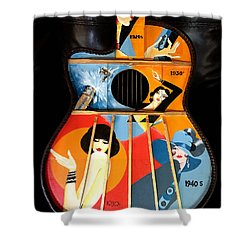 A Painted Guitar Shower Curtain
