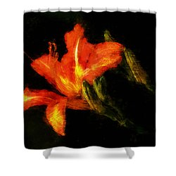 Shower Curtain featuring the digital art A Painted Lily by Cameron Wood
