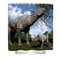 A Paraceratherium Mother Grazes Shower Curtain by Walter Myers