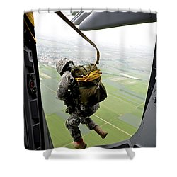 Shower Curtain featuring the photograph A Paratrooper Executes An Airborne Jump by Stocktrek Images