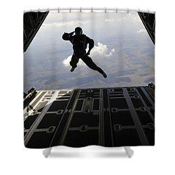 A Paratrooper Salutes As He Jumps Shower Curtain by Stocktrek Images