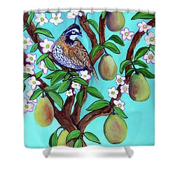 A Partridge In A  Blooming Pear Tree Shower Curtain by Ecinja Art Works