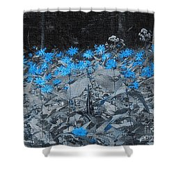 A Patch Of Blue Shower Curtain by Kathie Chicoine