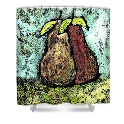 A Pear Pair Shower Curtain by Wayne Potrafka