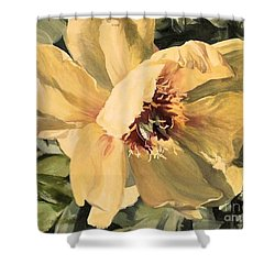 Shower Curtain featuring the painting A Peony For Miggie by Laurie Rohner