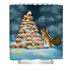 Shower Curtain featuring the painting A Perfect Christmas Tree by Veronica Minozzi