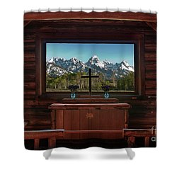 A Pew With A View Shower Curtain