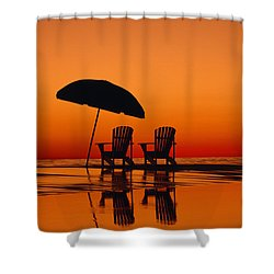 A Picturesque Scene With Two Chairs Shower Curtain by Michael Melford