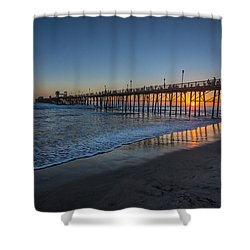 A Piers To Be Last Light Shower Curtain by Peter Tellone
