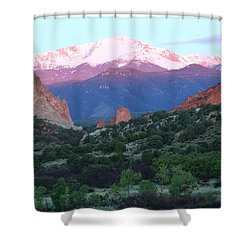 A Pikes Peak Sunrise Shower Curtain by Eric Glaser