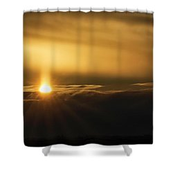 A Pillar Of Golden Light Shower Curtain by Brad Allen Fine Art