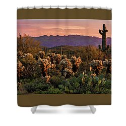 Shower Curtain featuring the photograph A Pink Kissed Sunset  by Saija Lehtonen