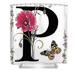 A Pink Poppy And A Painted Lady Butterfly Shower Curtain
