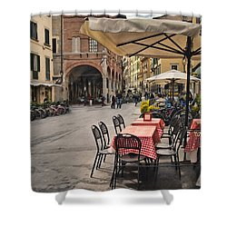 A Pisa Cafe Shower Curtain by Sharon Foster