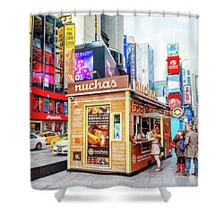 A Portable Food Stand In New York Times Square Shower Curtain