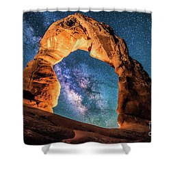 A Portal To The Milky Way At Delicate Arch Shower Curtain