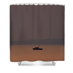 A Power Boat On Its Way To The Fishing Grounds Shower Curtain by John Harmon
