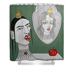 A Queen, Her Mirror And An Apple Shower Curtain