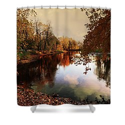 a quiet evening in a city Park painted in bright colors of autumn Shower Curtain