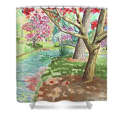 A Quiet Stroll In The Japanese Gardens Of Gibbs Gardens Shower Curtain