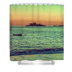 A Quiet Summer Evening On The Montenegrin Coast Of The Adriatic Sea Shower Curtain