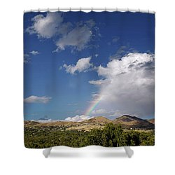 A Rainbow In Salt Lake City Shower Curtain by Rona Black