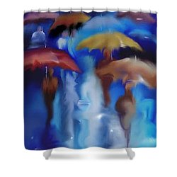 Shower Curtain featuring the digital art A Rainy Day In Paris by Darren Cannell