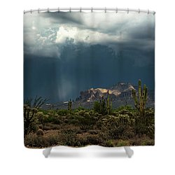 Shower Curtain featuring the photograph A Rainy Evening In The Superstitions  by Saija Lehtonen