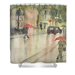 Shower Curtain featuring the painting A Rainy Streetscene  by Lucia Grilletto