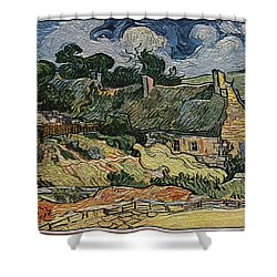 Shower Curtain featuring the digital art a replica of the landscape of Van Gogh by Pemaro