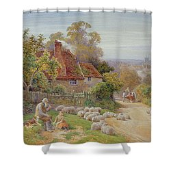 A Rest By The Way Shower Curtain by Charles James Adams