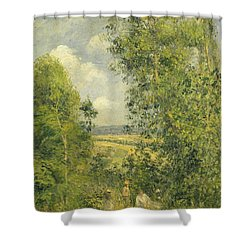 A Rest In The Meadow Shower Curtain by Camille Pissarro