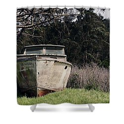 A Retired Old Fishing Boat On Dry Land In Bodega Bay Shower Curtain