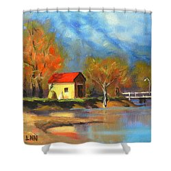 A River Bank Shower Curtain