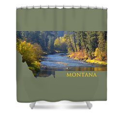 A River Runs Thru Autumn Shower Curtain